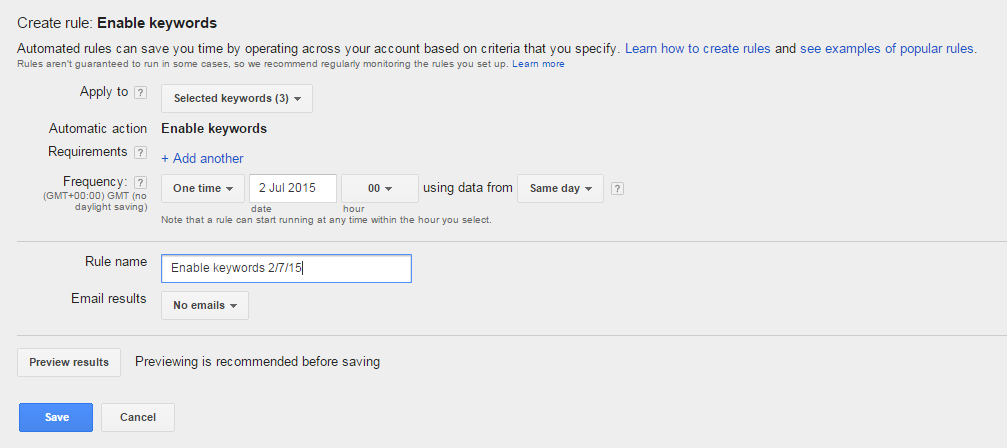 Enable Paused Keywords in Adwords Automatically