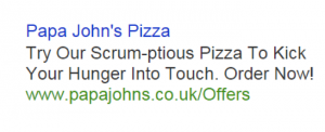 Papa John's highly successful Rugby-centric ad copy