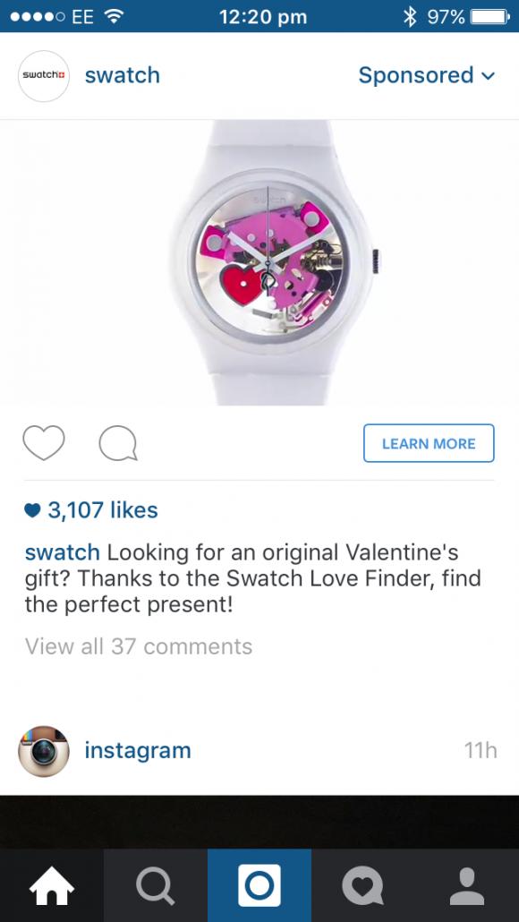 instagram ad format