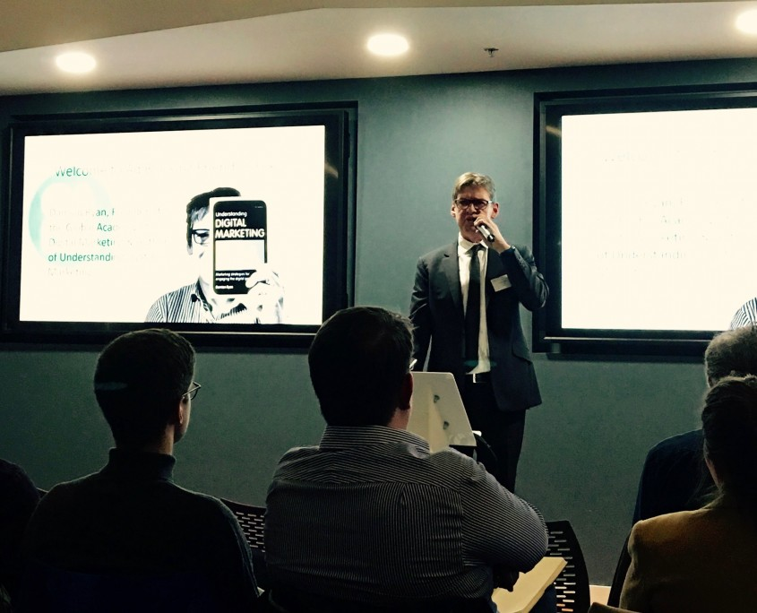 Damian Ryan (GADM) welcoming audience to Ad Blocking - Friend or Foe at IAB UK
