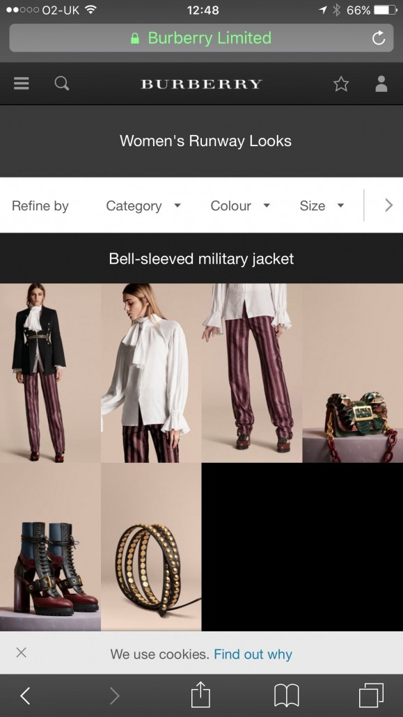 After clicking on 'Shop the show' fashion fans are taken to a page where they can purchase what they've just seen.