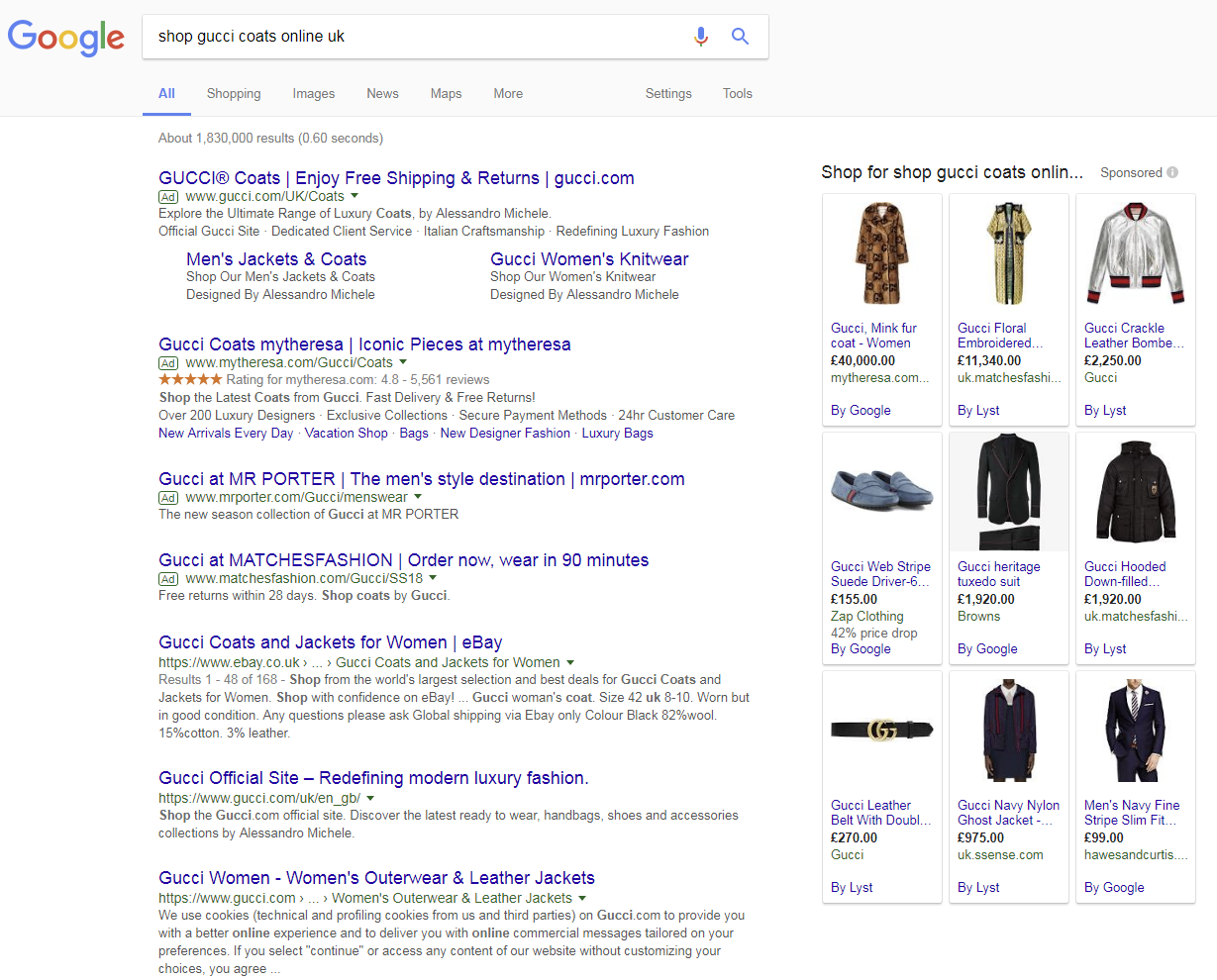 12f2f7a61178eb If we look closer at Lyst, we can see they dominate for the longer tail  search term 'shop gucci coats online uk', with over half of the shopping  ads on the ...