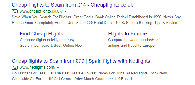 Search ads including the cheapest flight prices on the sites