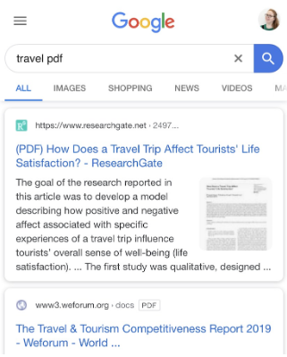 "Screenshot of Google Search Results for ""travel pdf"", with the top result showing the first page of a PDF."