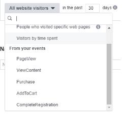 Screengrab of Facebook's readybuilt custom audiences