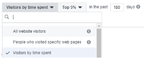 Screengrab of Facebook audience targeting for visitors by time spent