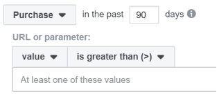 Screengrab of Facebook Ads targeting for purchases made in the last 90 days