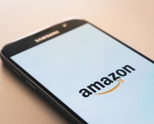 Phone displaying Amazon app